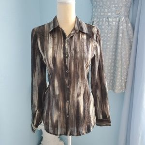 Chico's sheer crinkly button-front top E4